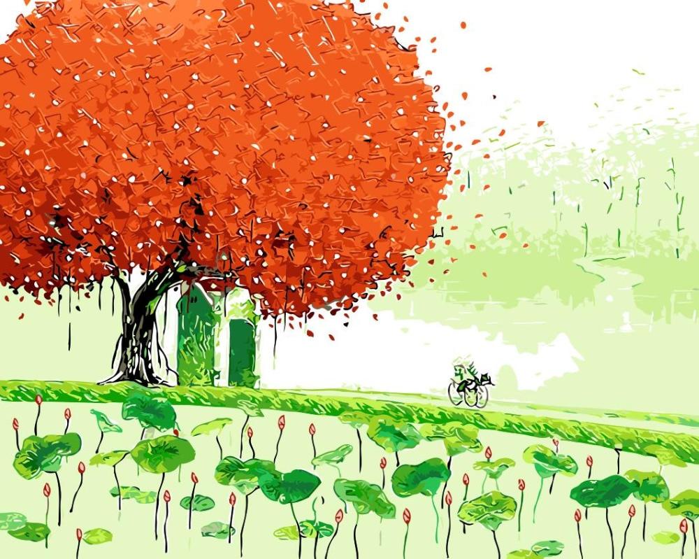 Colorful Musim Semi Pohon Rumput Landscape Gambar Lukisan