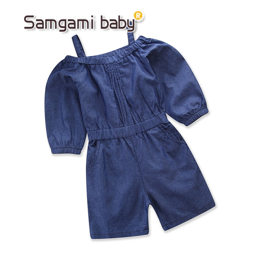 Genereus Samgami Baby Mode Overalls Pure Kleur Condoleren Riem Off Shoulder Demin Een Stukken Jumpsuit Peuter Meisjes Zomer Kleding 1-5y Wil Je Wat Chinese Inheemse Producten Kopen?