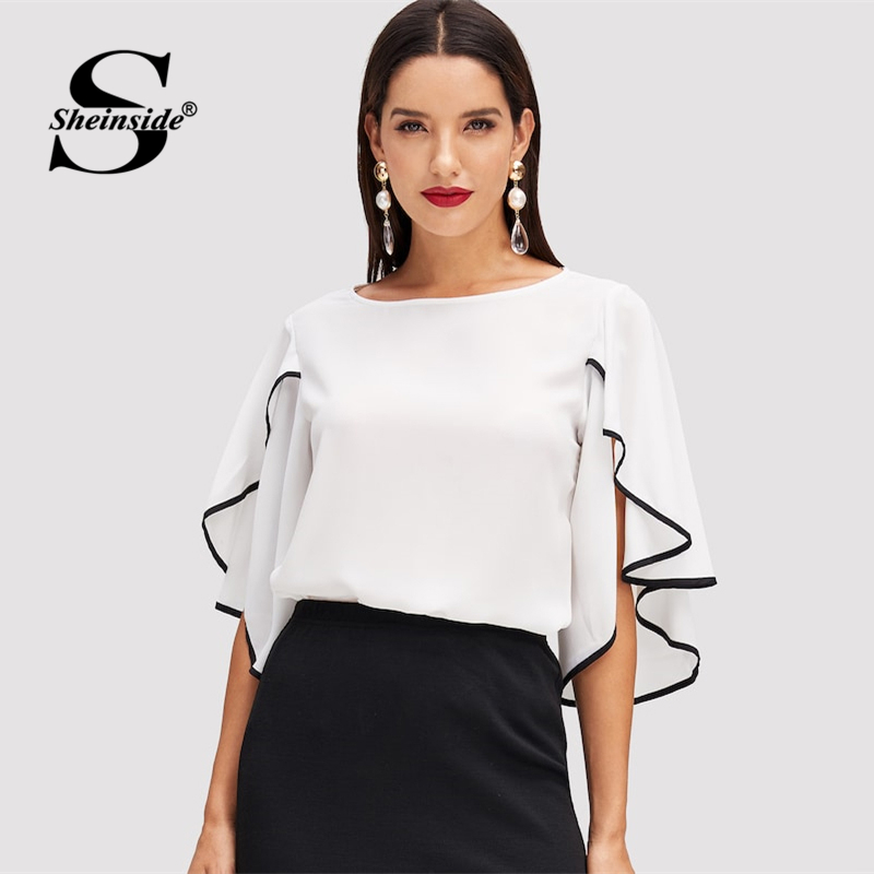 Sheinside Elegant Split Flounce Sleeve Top Women 2019 Summer Butterfly Sleeve Blouse Office Workwear 3/4 Length Sleeve Blouses
