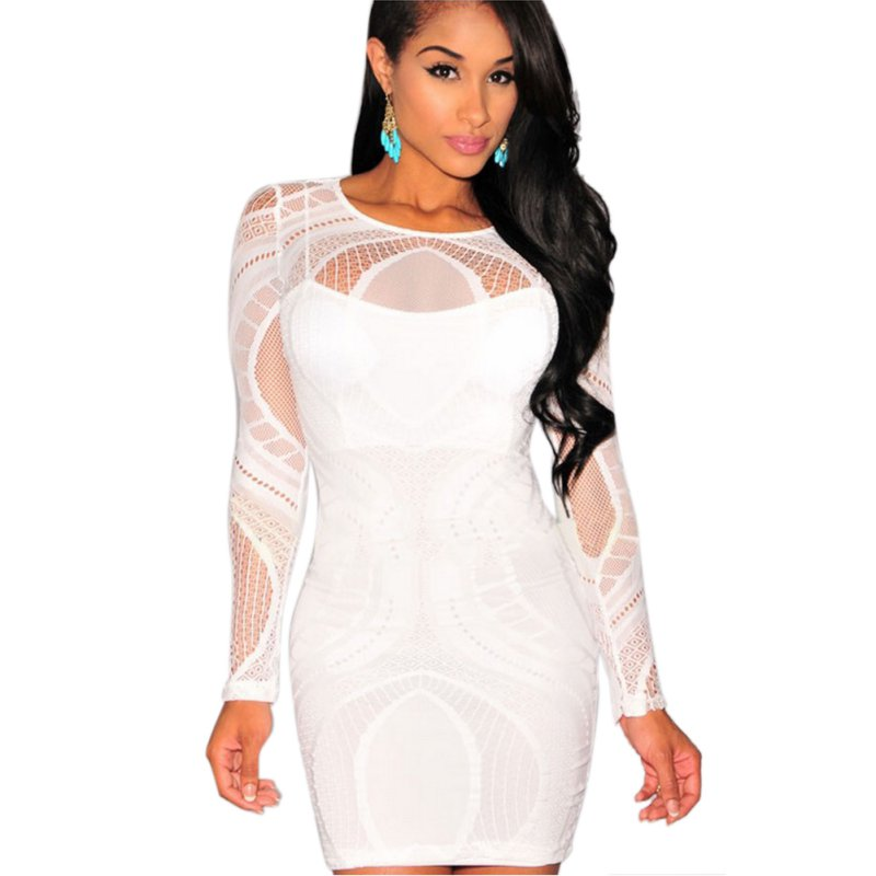 Women Bandage Bodycon Red Dress Evening Party Wear Long Sleeve