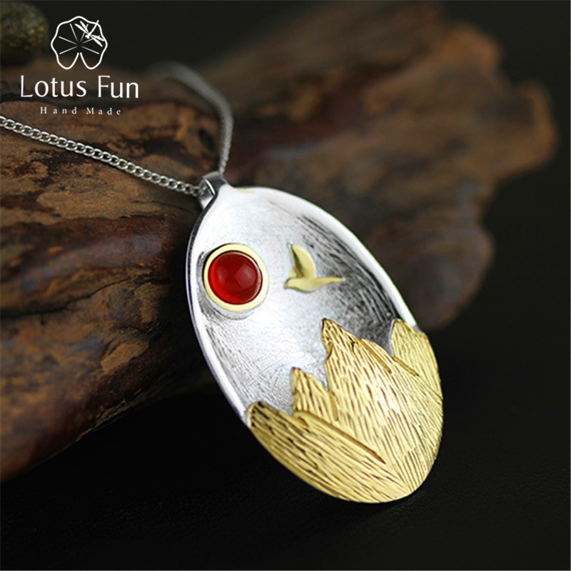 Lotus Fun \The Sunset\ Pendant without Necklace Real 925 Sterling Silver Natural Agate Handmade Fine Jewelry for Women 2 3mm red natural agate necklace multi layers 925 sterling silver with real pearl fine womne jewelry wedding party necklace