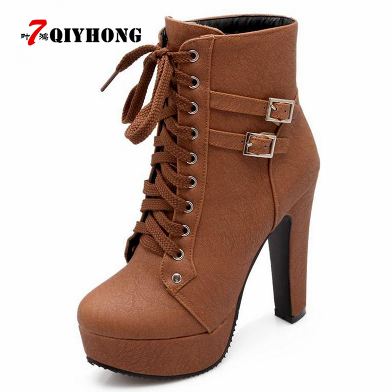 QIYHONG 2018 New Autumn Winter Women Ankle Boots High Heels Lace Up Leather Double Buckle Platform Short Booties New Black 2017 autumn winter new womens leather ankle boots ladies black short boots round toe high block heel zip up booties size