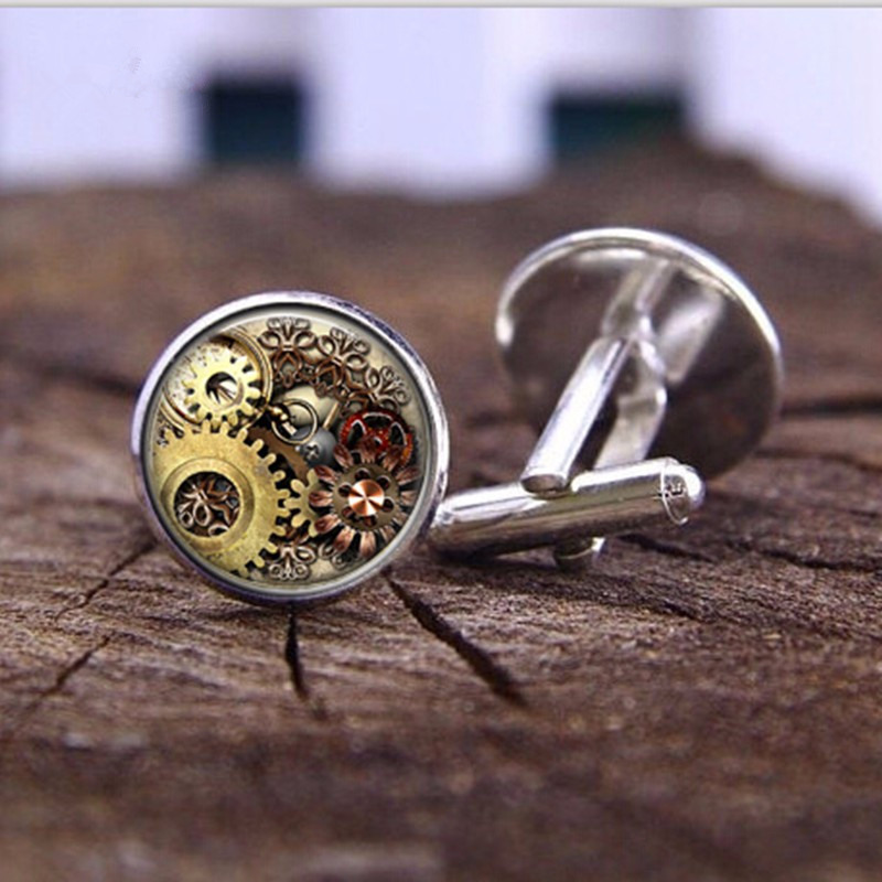 20mm Cufflinks Fashion Handmade Retro Steampunk Watches Personalized Crystal Glass Men's T-shirt Jewelry Cufflinks