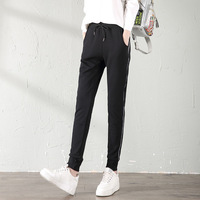 2018 Winter SportswearWoman Haren Pants Cotton Leisure Trousers Thickening Flannel Lined Trousers Panelled White Bars Slacks