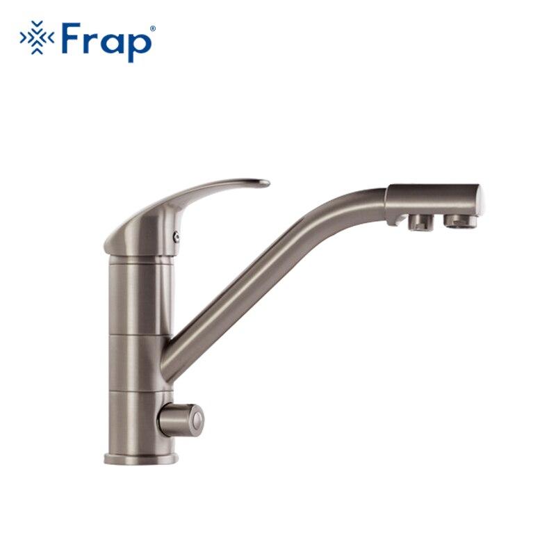 Frap High-end Corpo In Ottone Nichel Spazzolato rubinetto Della Cucina lavello miscelatore rubinetto rotazione di 360 gradi di depurazione delle acque caratteristiche F4321-5