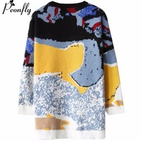 PEONFLY Women network red knitted Pullover Sweaters Loose Long Sleeve New Casual Vintage Sweaters Knitted Warm Autumn