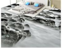 Custom HD 3D Photo Floor Wallpaper PVC Muarl Bedroom Beach Rock Landscape 3D Mural PVC Wallpaper