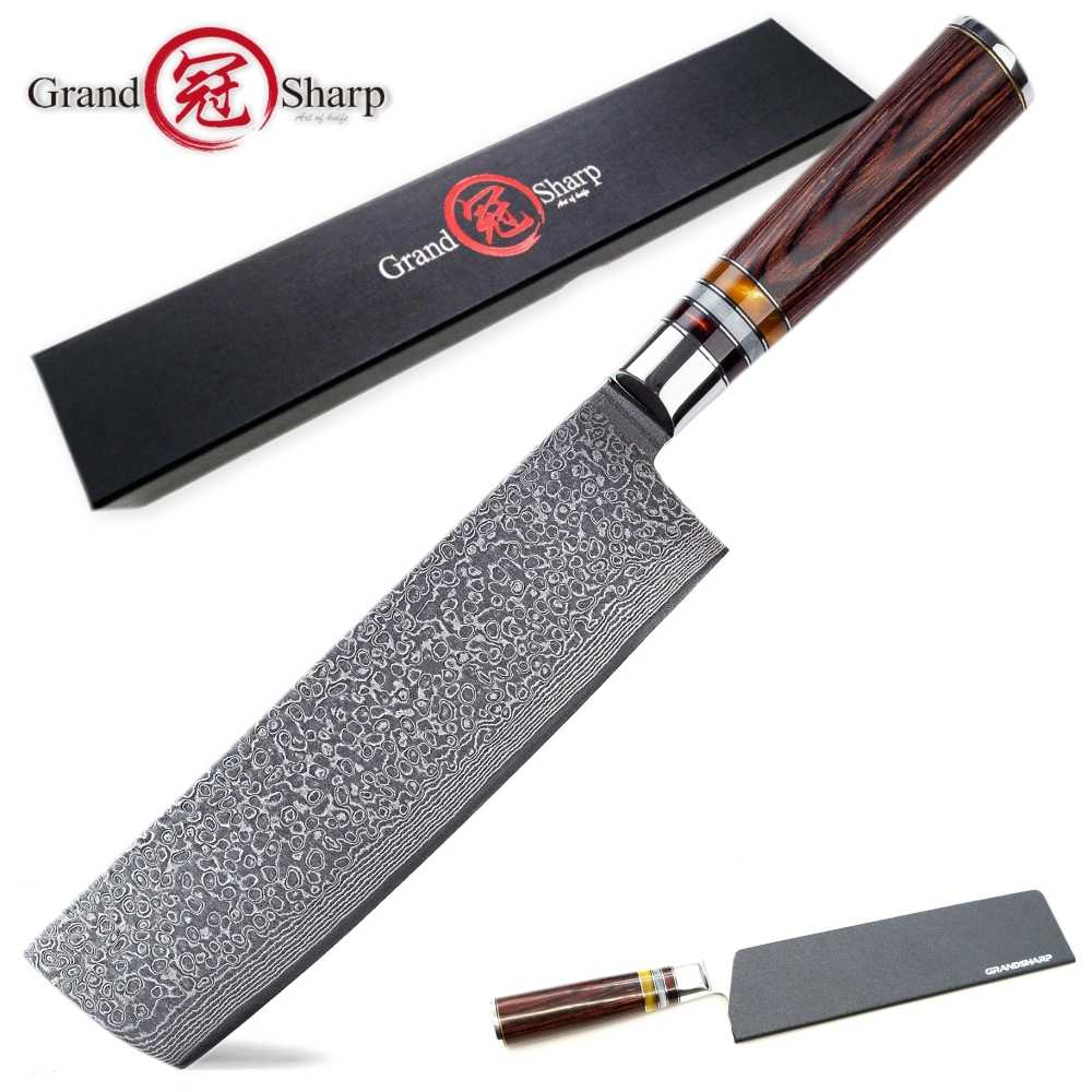 Asian Knife Japanese Damascus Steel Nakiri Knife Vegetables Cleaver Cooking Tools Kitchen Knives vg10 Japanese Damascus Knives