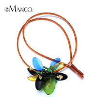 Women Trendy Plank Statement Pendant With Leather Strap EManco 2014 New Promotions Acrylic Necklaces Jewelry Accessories