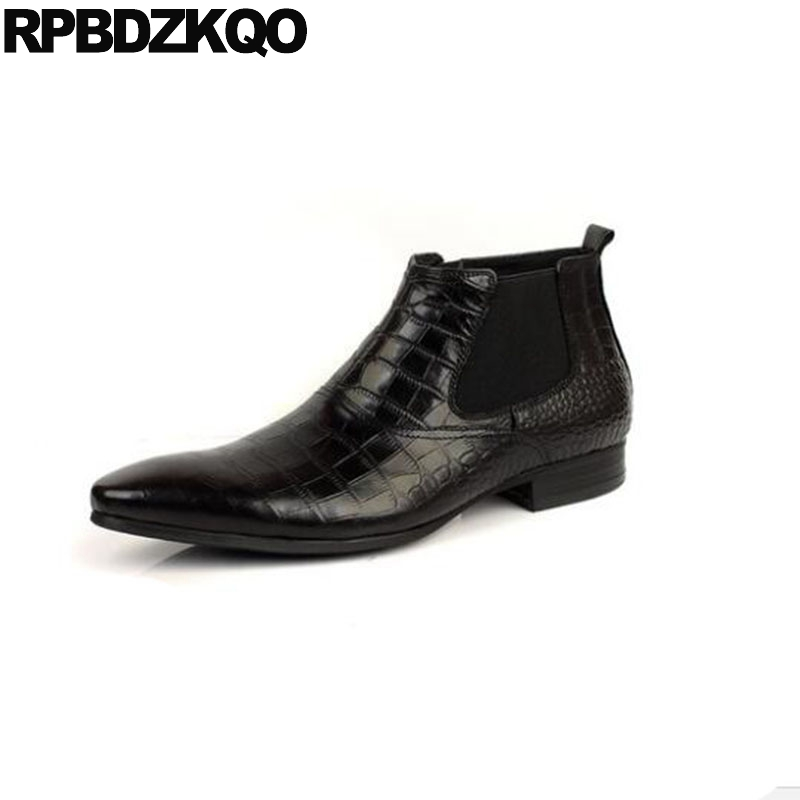 35d82194bedbd Chelsea Snakeskin Booties Chunky Men Mens Pointed Toe Dress Boots Wedding Genuine  Leather Ankle Black Crocodile Shoes Plus Size