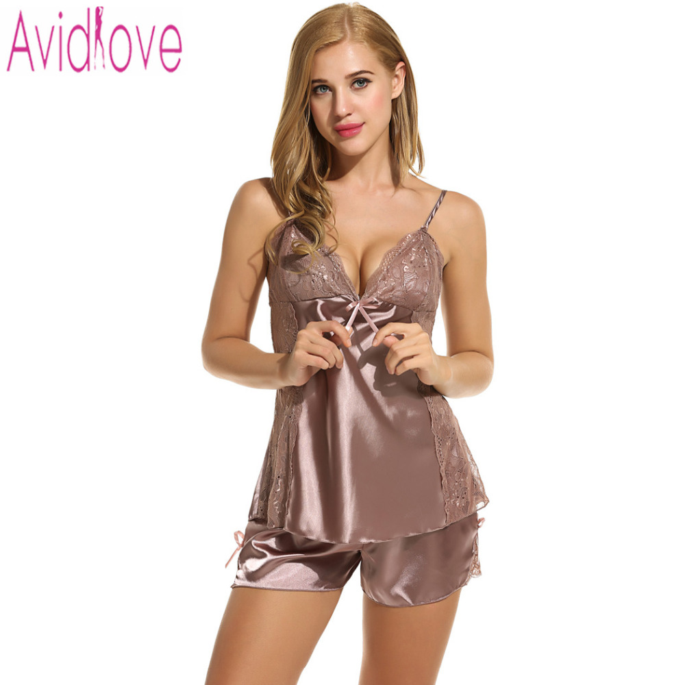 5960baad03 Avidlove Women s Pajamas Sexy Sleepwear Nightwear Summer Shorts Set Sexy  Satin Lingerie Nightgown Spaghetti Strap Sexy Pajamas