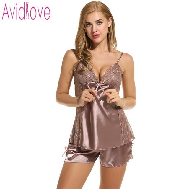 21c2a1d05 Avidlove pijamas de mujer Sexy ropa de dormir verano Pantalones cortos  conjunto Sexy satén Lencería camisón