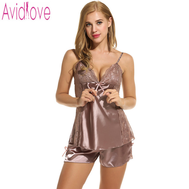 b27e347852 Avidlove pijamas de mujer Sexy ropa de dormir verano Pantalones cortos  conjunto Sexy satén Lencería camisón