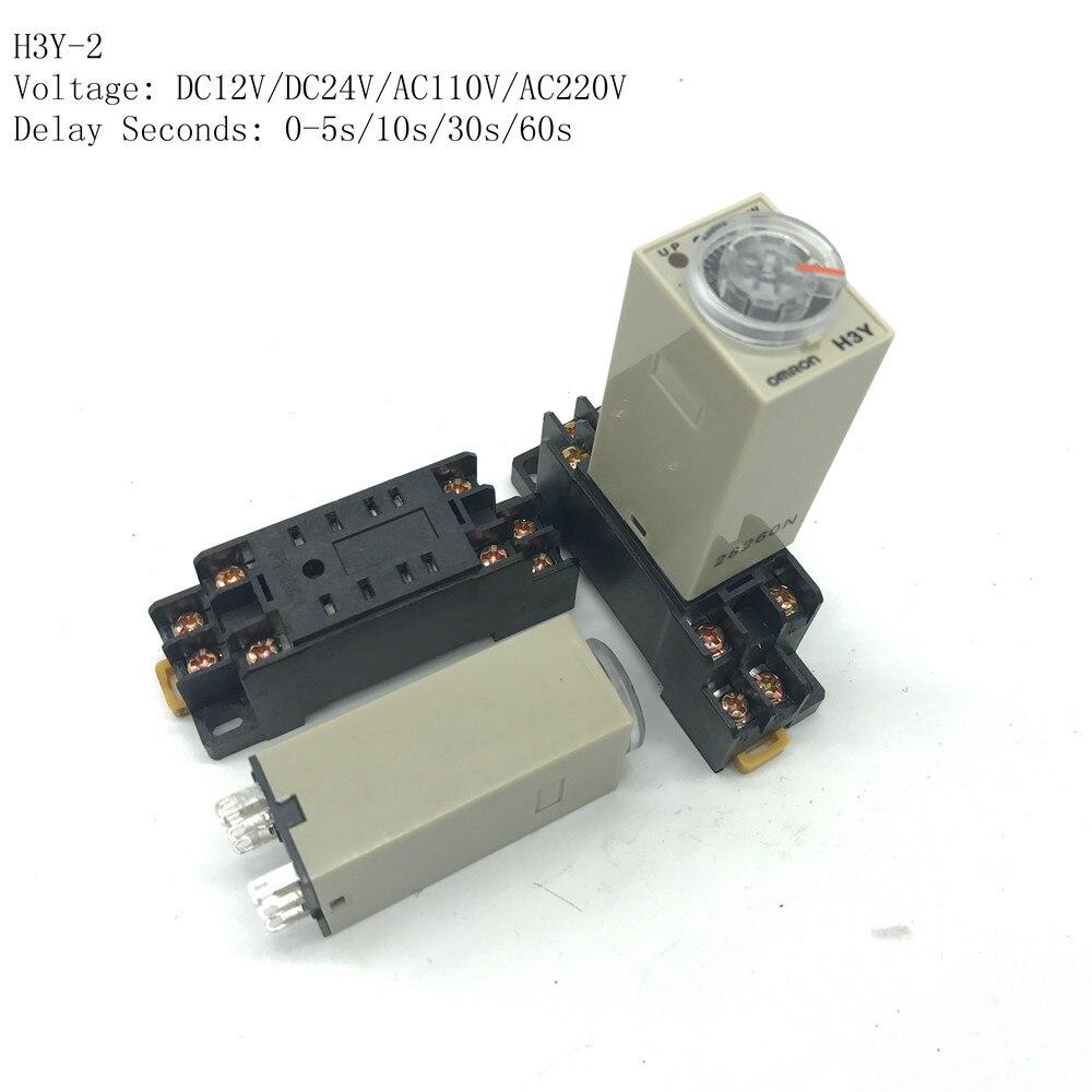 5Pcs H3Y-2 DC24V Delay Timer relais à temps 0-60 S avec base