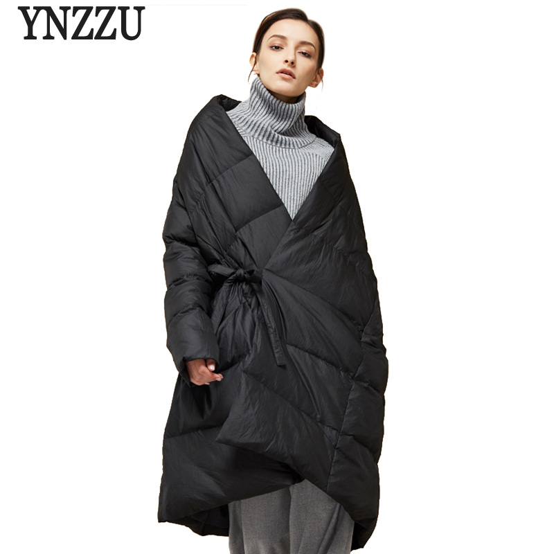 Brand 2018 Winter New Design Women   Down   Jacket Chic Clock A-Line Style Loose 90% White Duck   Down     Coat   Thick Warm Outwears AO636
