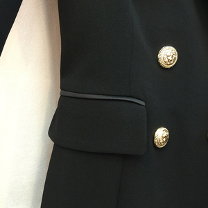 Image 5 - فستان بتصميم مدرج موضة باريس 2020 عالي الجودة للنساء 3/4 كم أزرار معدنية على شكل أسد فستان بياقة مدببة