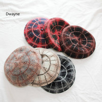 Korean Vintage Style Red Black Grid Autumn Beret Hat Cute Girls WInter Hat Thick Warm Casual