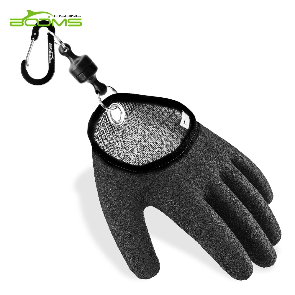 Booms Fishing Free Hands Fishing Gloves for Handing Fish Safety with Magnet Release