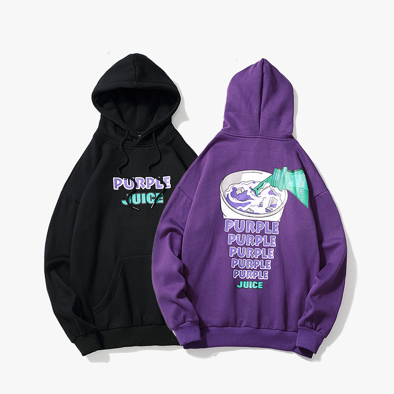 Mens Pullover Couple Sweatshirt Black Purple Drink Printed Hooded Men Velvet Top Hip Hop Sportswear Streetwear