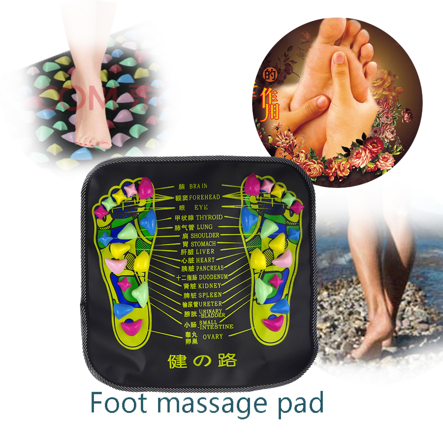34x34cm Reflexology Walk Cobblestone Pain Relief Foot Massager Acupoint Massage Mat Pad Acupressure Health&Beauty Promote sleep hthl chinese health care colored plastic walk stone square healthy foot massage mat pad cushion