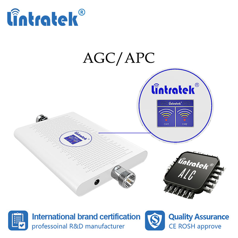 Lintratek 70dB dual band 3G 4G 1800 2100mhz repeater 900 1800 GSM 2G 4G LTE cellular signal booster 2100mhz 3G amplifier ALC #dd