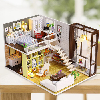 DIY Creative manual assembly House model, contracted city with dustproof cover and light .girl's birthday gift.