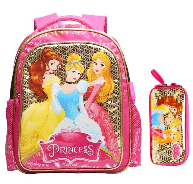 3dfe862e8ac83 الأميرة سندريلا حسناء الترتر حقائب الظهر المدرسية الأطفال حقائب مدرسية مقلمة  المدرسة الابتدائية للبنات