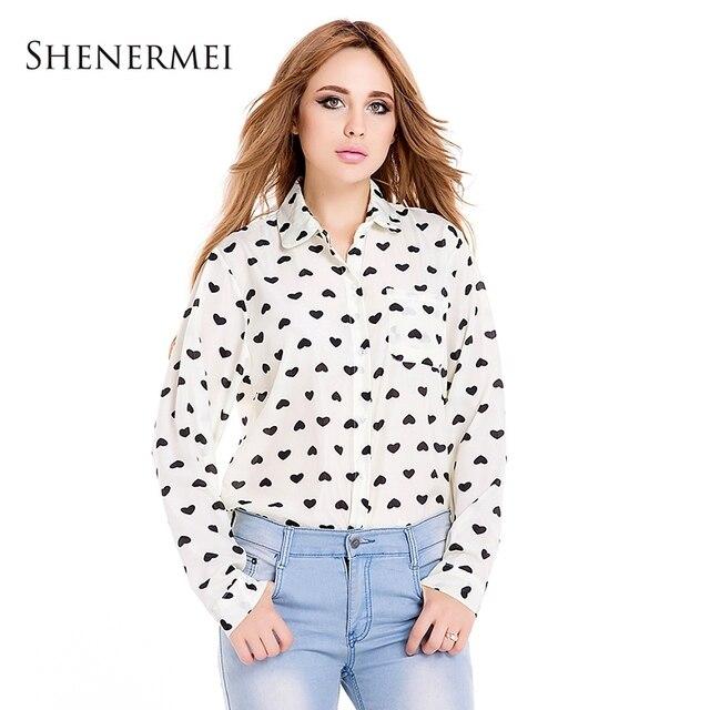 Blusas Femininas 2014 do Vintage da moda camisa da mulher Chiffon blusa amor doce coração mulheres negras manga comprida Tops Roupas sml