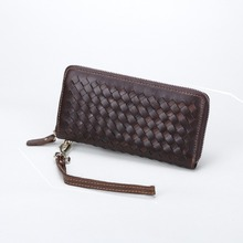 free shipping new fashion brand men's long wallet male clutches 100% genuine cow leather famous knitting design in-kind shooting