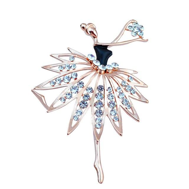 Beautiful Girls Fashion Trendy Charming Princess Ballerina Brooch Crystal Rhines