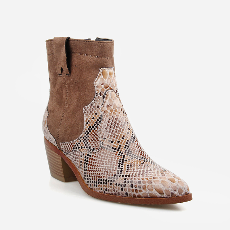 Women shoes Zipper Boots Snake Print Ankle Boots Square heel Fashion Pointed toe Ladies Sexy shoes 2019 Spring New Chelsea Boots in Ankle Boots from Shoes