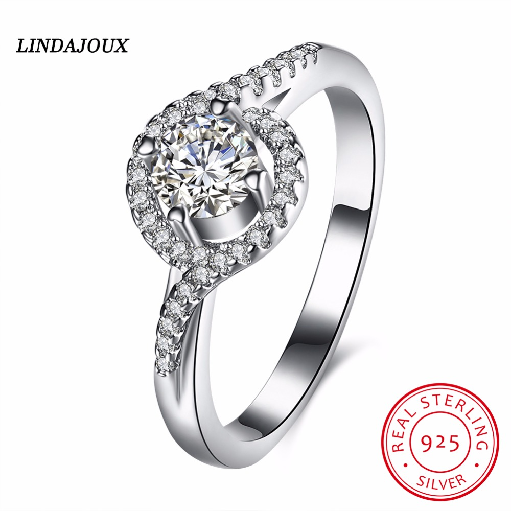 925 Sterling Silver Curve Circle Inlay Crystal Wedding Engagement Party  Rings For Women Fashionable Ring Charm Gift Lindajoux