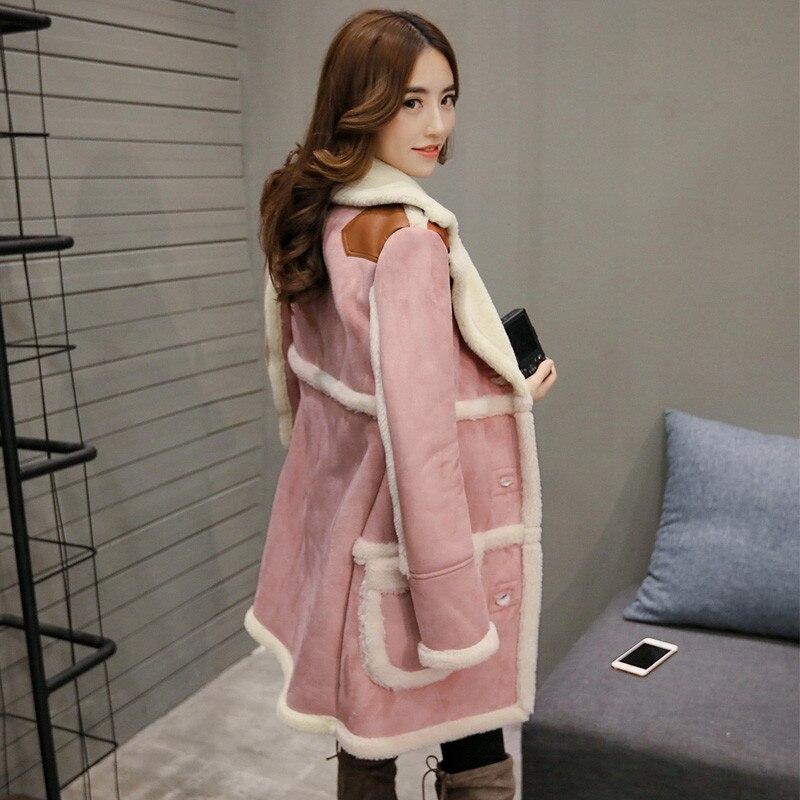 Femelle Longues En De C1670 pink White Vêtements Suede Parkas Laine D'hiver Femmes Outwear D'agneau Beige Manteau Veste Mode Chaude Faux Coton fI0qx8