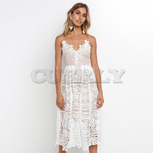 CUERLY Summer White Dress Women Hollow Out Sleeveless Sexy Bodycon Dress Elegant Skinny Floral Pattern Lace Dresses Vestido