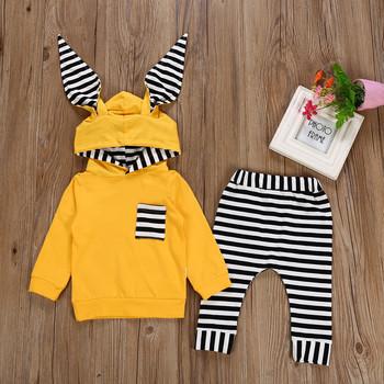 MUQGEW Fashion Baby ubrania zestaw zimowe ubrania dla dzieci 2PCs pasiasty Bluza z kapturem koszulki + spodnie noworodek chłopiec roupas meni tanie i dobre opinie W MUQGEW Moda Bawełna poliester Sukno Unisex Pełne Paski Hooded Sweter Regularne Mieszanka bawełny baby outfits W dół Parkas