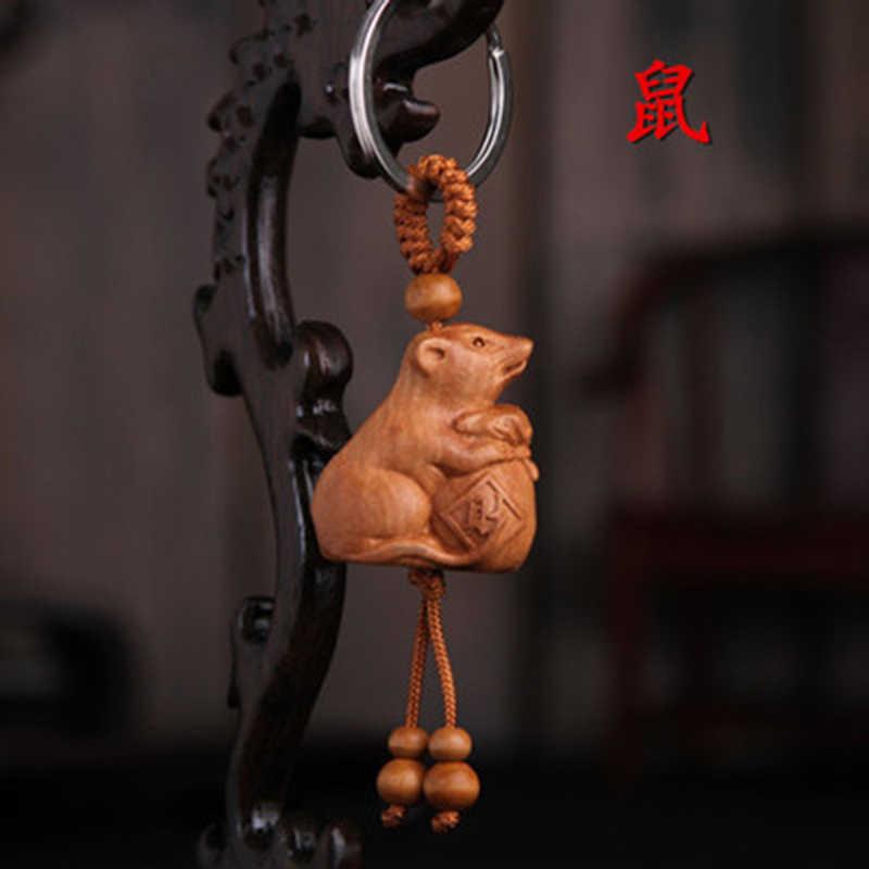 ADOMANER Cổ Điển Thép Không Gỉ & Gỗ Keychain Trung Quốc Đặc Điểm Thợ Khóa Xe Người Đàn Ông Phụ Nữ Portachiavi Món Quà bán buôn