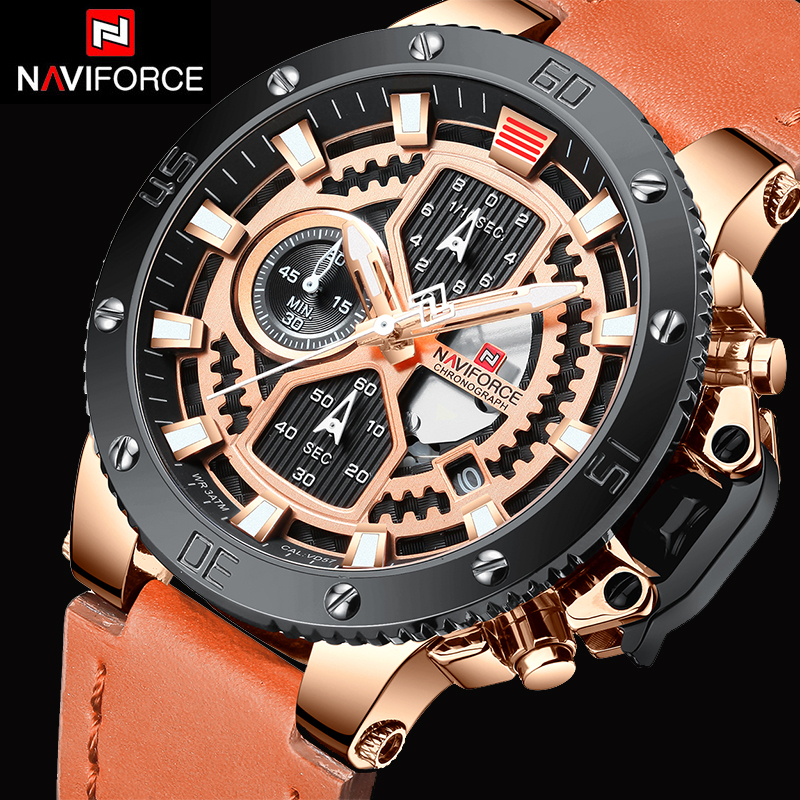 NAVIFORCE New Fashion Mens Watches Top Brand Luxury Chronograph Military Quartz Watch Leather Waterproof Sport Watch Men 2019NAVIFORCE New Fashion Mens Watches Top Brand Luxury Chronograph Military Quartz Watch Leather Waterproof Sport Watch Men 2019