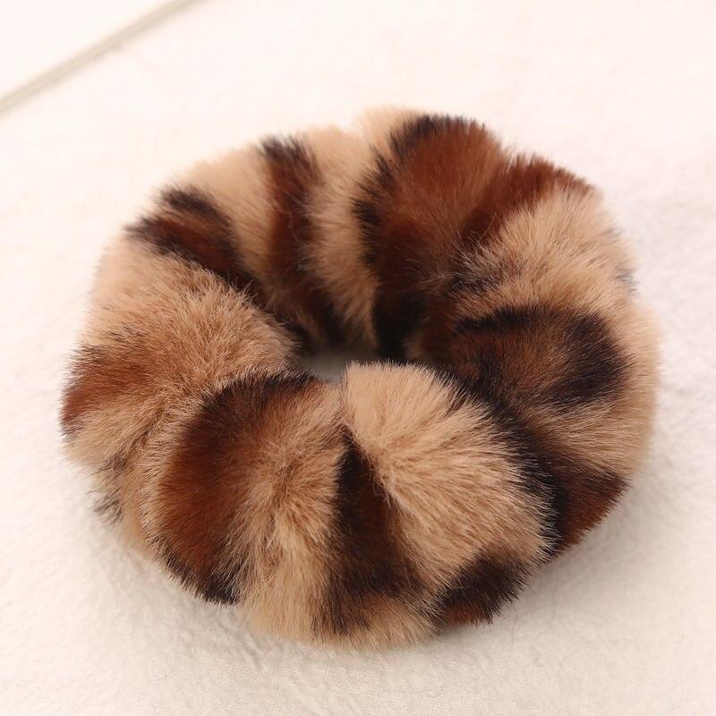 AIKELINA/Новинка; зимняя теплая мягкая резинка для волос из искусственного кроличьего меха для девочек и женщин; аксессуары для волос; Детская резинка; головной убор - Цвет: Brown Khaki