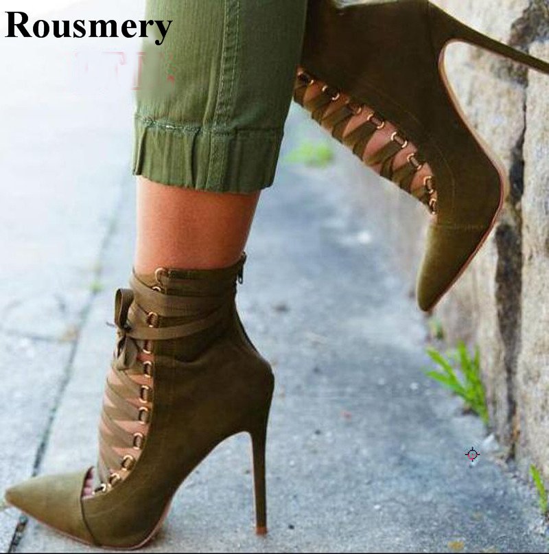 Women New Design Pointed Toe Lace-up Suede Leather High Heel Ankle Boots Sexy Stiletto Heel Ankle Strap Boots Fashion Dress Shoe
