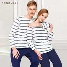 Paar Pyjama Katoen Gestreepte O hals Nachtkleding Minnaar Thuis Kleding Plus Size L 3XL Hoge Kwaliteit Mannen + Vrouwen Ondergoed 1 Set