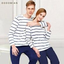 Pijama de algodón a rayas con cuello redondo para parejas ropa de dormir para enamorados, ropa de casa de talla grande L 3XL, ropa interior para hombre + mujer, 1 Juego