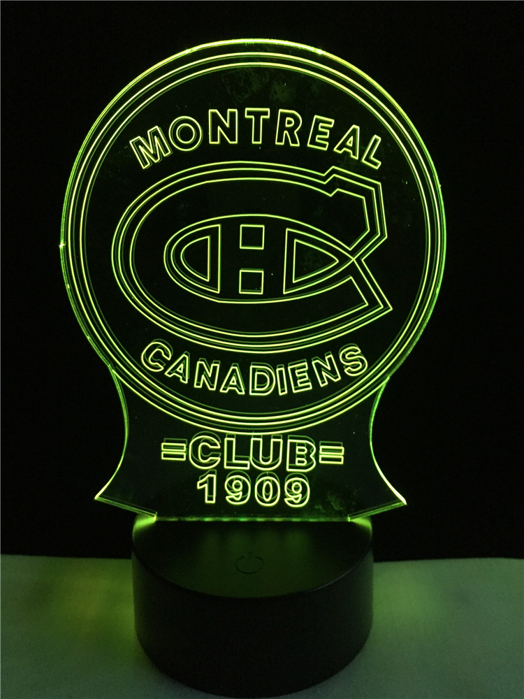 New Montreal Canadiens Club Medal Luminarias 3D Atmosphere 7 Colors Gradient Visual Nightlight Illusion Birthday Party Deco Lamp