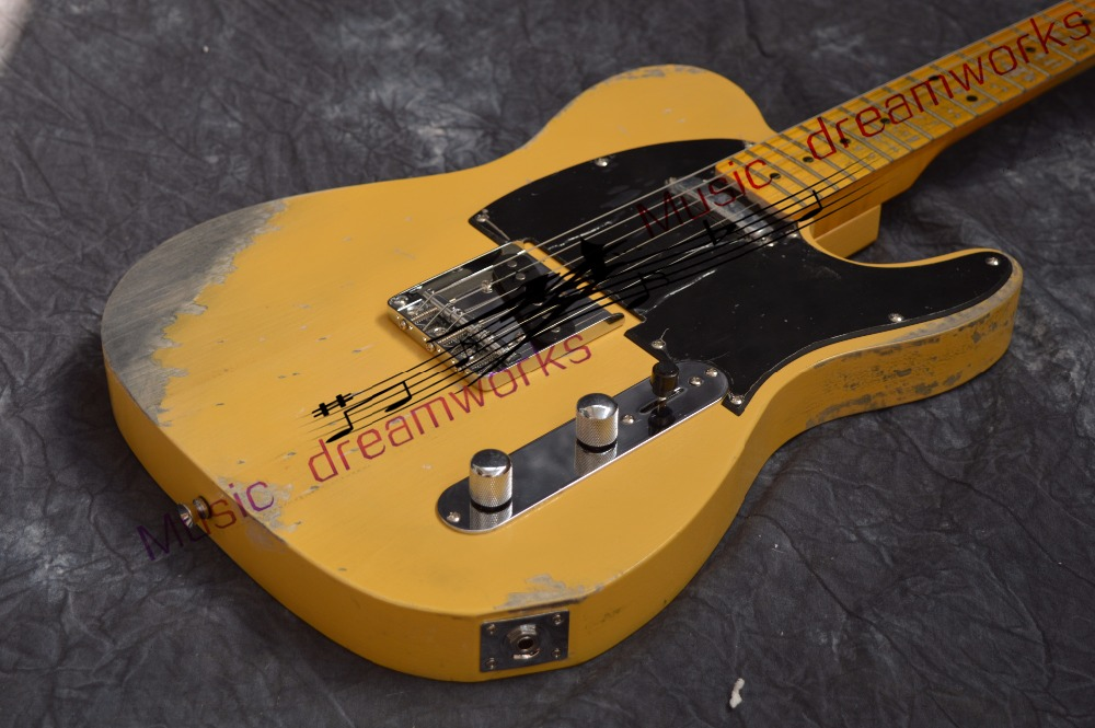 China firehawk electric guitar  TL Classic yellow  color handmade  remains old  guitar  Free shipping custom shop tl electric guitar classical tele 53 relics yellow milk color relic by hands high quality limited issue signature