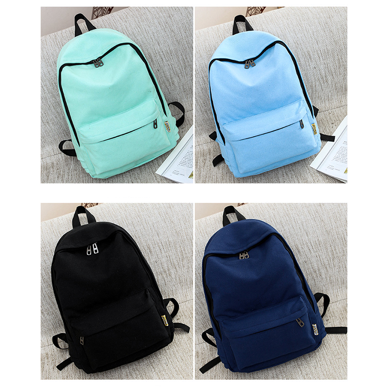 Canvas Pure Color Backpack Fashion Adolescent Girl Backpack Female Best Women Backpack Rucksack Mochila Bagpack Travel Bag #4