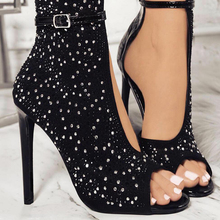 2018 Pumps Women High Heels Crystal Brand Rivet Sexy Gladiator Thin Rhinestone Buckle Strap Party Shoes Summer