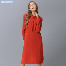 New Arrivals Autumn Winter Women Sweaters With Cap Pullover Long Style Loose Knitting Black Blue Gray Dress Plus Size