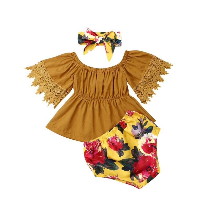 Ropa de niña pequeña linda princesa bebé niña ropa Tops de manga corta conjunto de dos piezas Top y pantalones conjunto de ropa verano