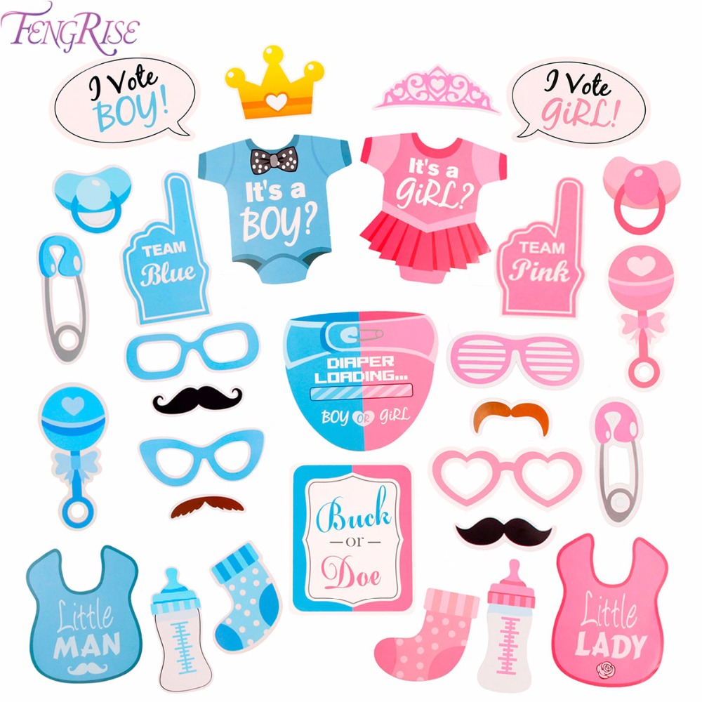 FENGRISE Its a Boy Girl Photo Booth Props Newborn Baby 1st Birthday Photobooth Baby Shower Decor Gender Reveal Party Supplies