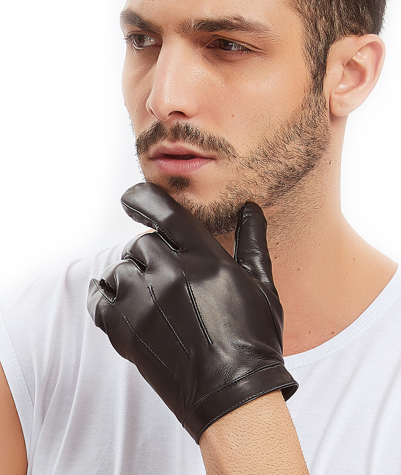 Calharmon man wrist button one whole piece of sheep leather gloves black