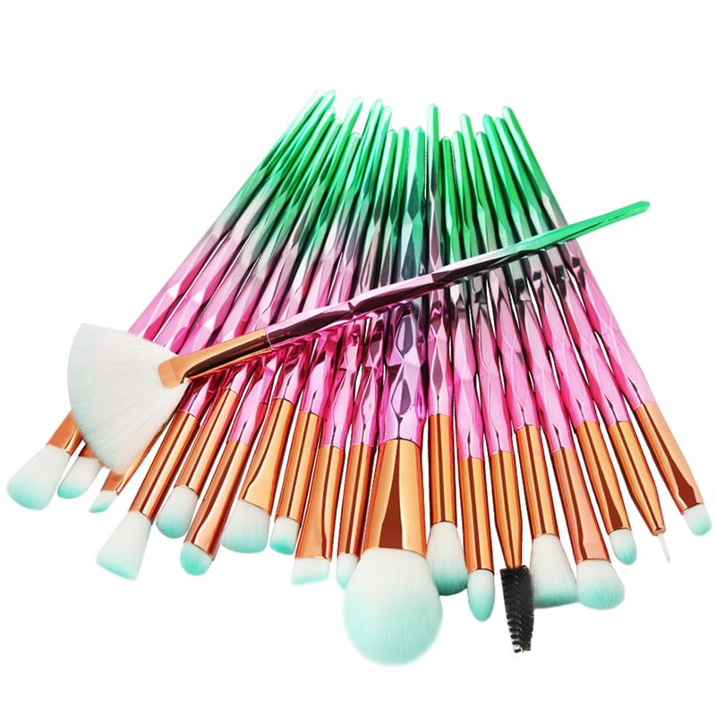 10/20Pcs Professional Make Up Brush Set Colorful Rainbow Diamond Makeup-brushes Blending Cosmetics Contour Brush for Eye Shadow цена 2017
